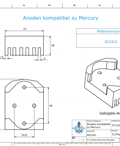 Anodes compatible to Mercury   Block-Anode 821631 (AlZn5In)   9712AL