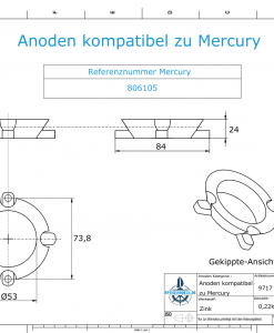 Anodes compatible to Mercury | Ring-Anode 806105 (Zinc) | 9717