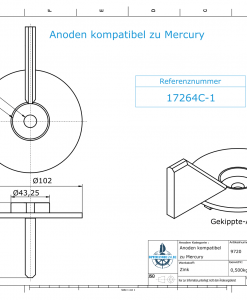 Anodes compatible to Mercury | Trim-Tab-Anode-AB 17264C1 (Zinc) | 9720
