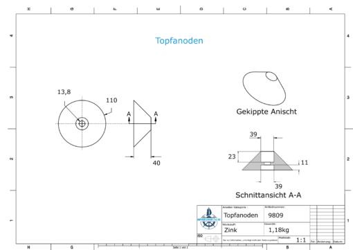 Cylinder-Anodes 110x40 Ø110 mm (Zinc)   9809