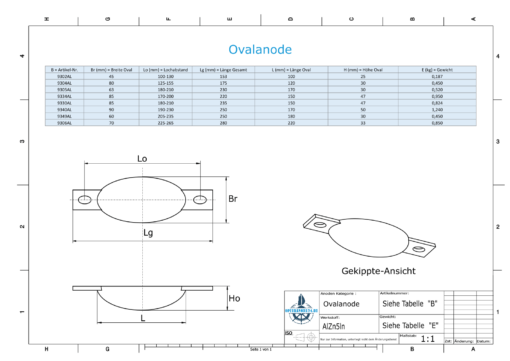 Block- and Ribbon-Anodes Oval L220/250 (AlZn5In) | 9306AL