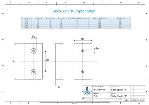 Block- and Ribbon-Anodes Block L85/65 (Zinc)   9311