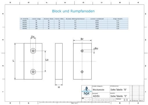 Block- and Ribbon-Anodes Block L140/100 (AlZn5In) | 9313AL