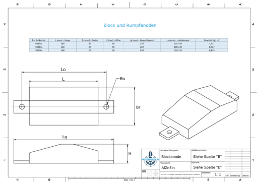 Block- and Ribbon-Anodes Flat-Anode L160/185 (AlZn5In)   9350AL