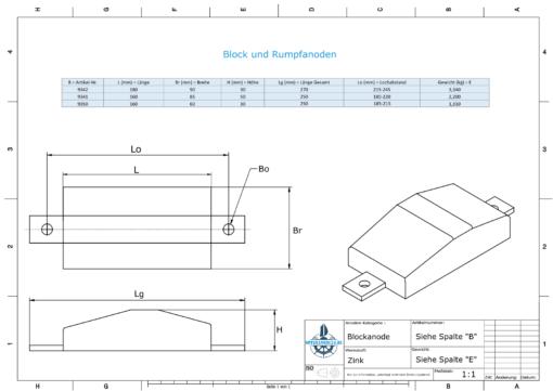 Block- and Ribbon-Anodes Flat-Anode L160/185 (Zinc)   9350