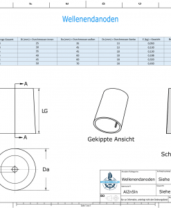 Shaftend-Anodes conical with retainer key 35 mm (AlZn5In) | 9439AL
