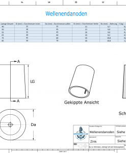 Shaftend-Anodes conical with retainer key 30 mm (Zinc) | 9438
