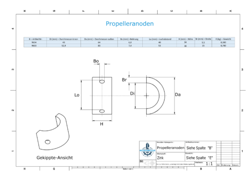 Propeller Anode suitable for Varifold VF-70 (Zinc) | 9634