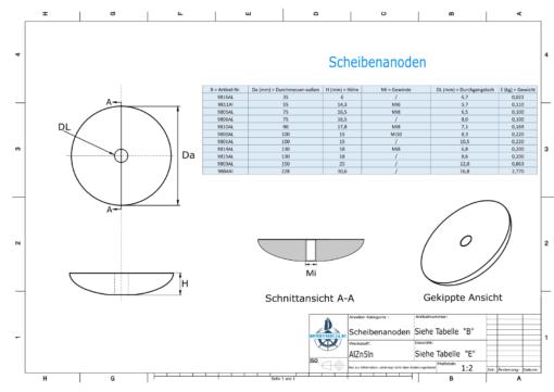 Disk-Anodes Ø 75mm | M8 (AlZn5In) | 9805AL