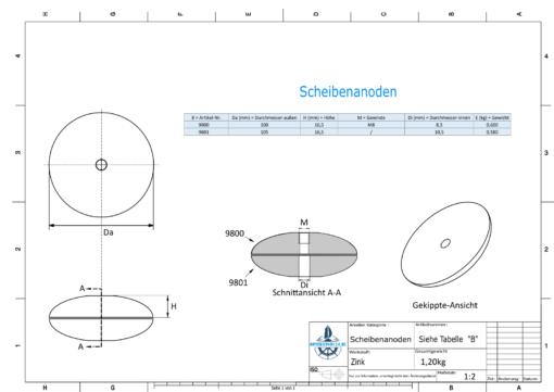 Disk-Anodes Ø 100mm | Bundle (Zinc) | 9800 9801