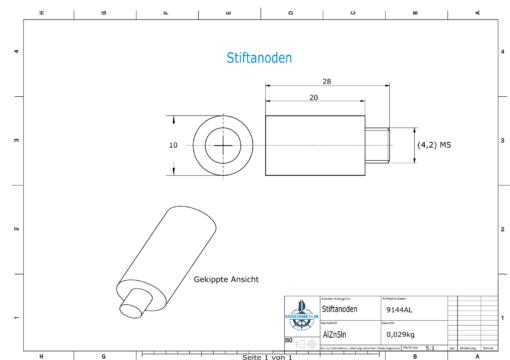 Bolt-Anodes 5 mm Stift Ø10/L20 (AlZn5In)   9144AL