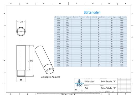 Bolt-Anodes 7/16'' 20G Ø16/L50 (Zinc) | 9130