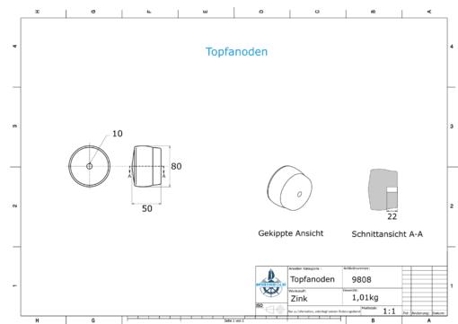 Cylinder-Anodes 80x50 Ø80 mm (Zinc) | 9808