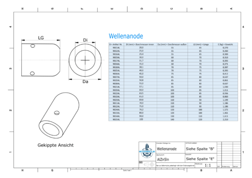 Shaft-Anode with metric inner diameter 45 mm (AlZn5In) | 9006AL