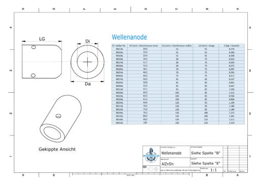Shaft-Anode with metric inner diameter 30 mm (AlZn5In)   9003AL