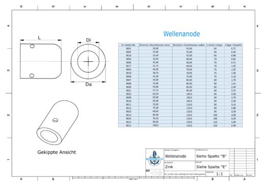 Shaft-Anode with metric inner diameter 70 mm (Zinc) | 9011