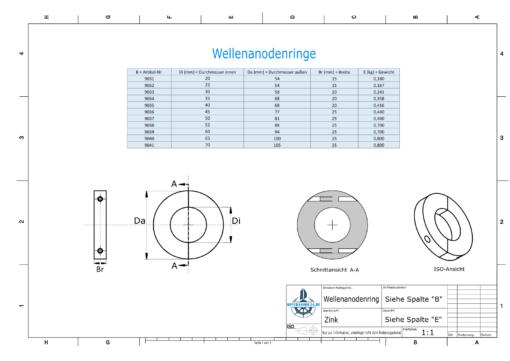 Shaft-Anode-Rings with metric inner diameter 60 mm (Zinc) | 9039