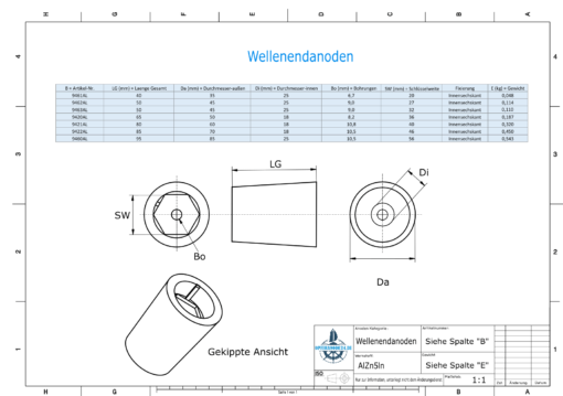 Shaftend-Anodes with hexagon socket SW46 (AlZn5In) | 9422AL
