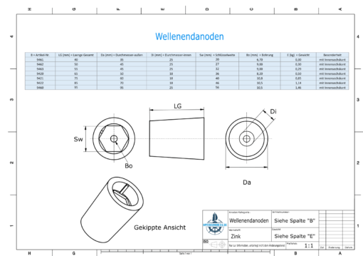 Shaftend-Anodes with hexagon socket SW27 (Zinc) | 9462