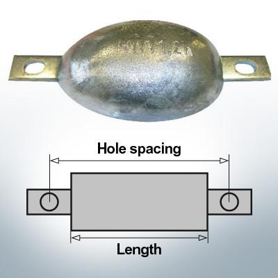 Anodi di blocco e di fusoliera Ovale L170/195 (AlZn5In) | 9305AL