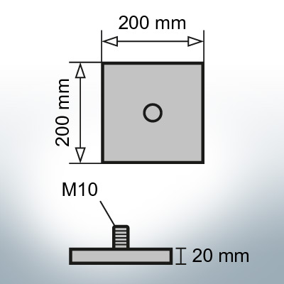 Block- and Ribbon-Anodes Footbridge plate 200x200x20 with M10 (Zinc) | 9332