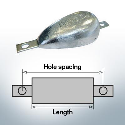 Anodi di blocco e di fusoliera Ovale L150/195 (AlZn5In)   9334AL