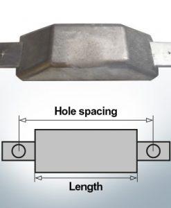 Anodi di blocco e di fusoliera Anodo piatto L180/240 (Zinco) | 9342