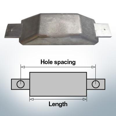 Anodi di blocco e di fusoliera Anodo piatto L160/185 (Zinco)   9350