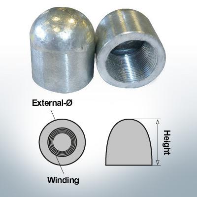 Dadi a cupola M30x1,5 Ø50/H60 (AlZn5In) | 9400AL