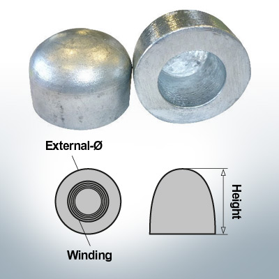 Dadi a cupola M52x1,5 Ø75/H50 (AlZn5In) | 9405AL