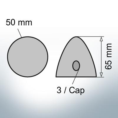 Three-Hole-Caps Ø50/H65 (AlZn5In)   9406AL
