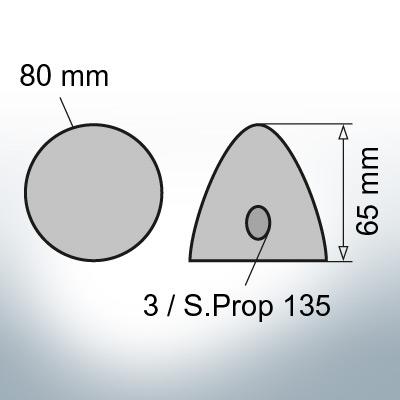 Three-Hole-Caps | Prowell Sailprop 135 Ø80/H65 (Zinc) | 9408