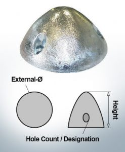 Cappucci a tre fori | adatti per DF-128 Ø105/H55 (AlZn5In) | 9410AL