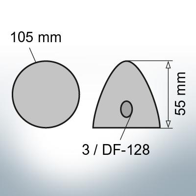 Three-Hole-Caps   suitable for DF-128 Ø105/H55 (Zinc)   9410