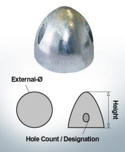 Cappucci a tre fori | adatti per DF-112 Ø90/H53 (AlZn5In) | 9412AL