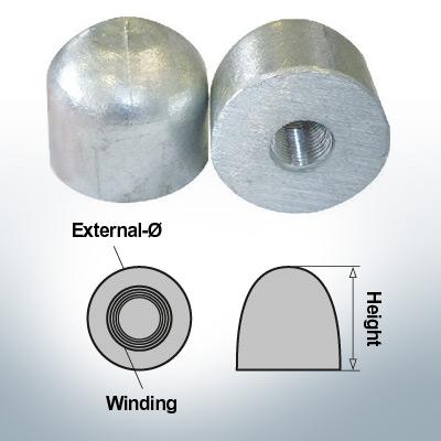 Dadi a cupola M16x1,5 Ø45/H40 (AlZn5In) | 9450AL