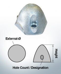 Cappucci a tre fori | adatti per Faltprop Engl. Ø55/H45 (AlZn5In) | 9457AL