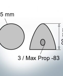 Three-Hole-Caps | Max Prop -83 Ø85/H60 (Zinc) | 9602