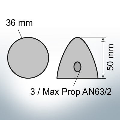 Two-Hole-Caps | Max Prop AN63/2 Ø36/H50 (AlZn5In) | 9609AL