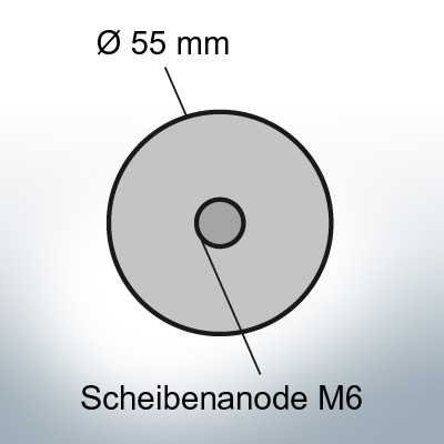 Disk-Anodes with M6 Ø55 mm (AlZn5In)   9811AL