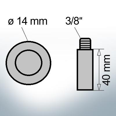 Bolt-Anodes 3/8'' Ø14/L40 (AlZn5In)   9102AL