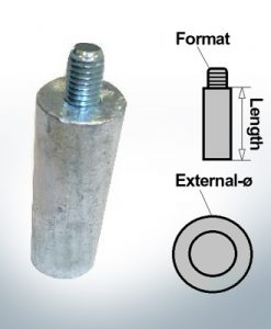Anodi a spillo M8 Ø20/L20 (AlZn5In) | 9114AL