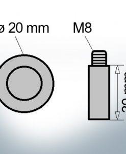 Bolt-Anodes M8 Ø20/L30 (Zinc) | 9113