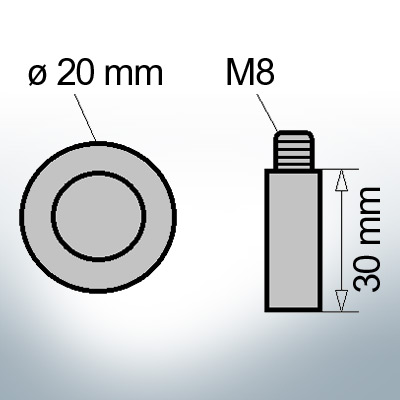 Bolt-Anodes M8 Ø20/L30 (AlZn5In) | 9113AL