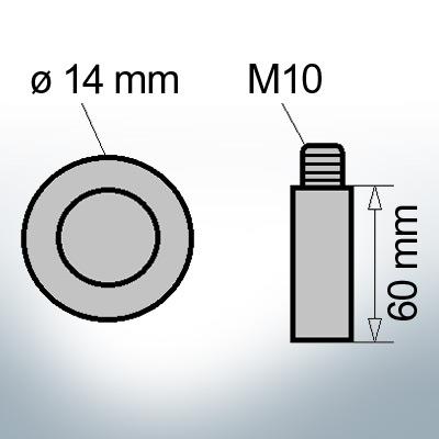 Bolt-Anodes M10 Ø14/L60 (AlZn5In) | 9123AL