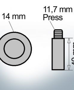 Bolt-Anodes 11,7 mm Press Ø14/L40 (AlZn5In) | 9134AL
