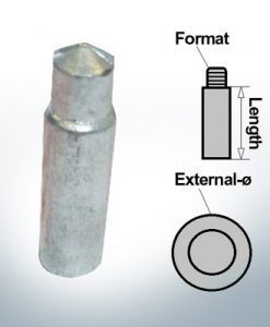Anodi a spillo M12 Ø14/L40 (AlZn5In) | 9135AL