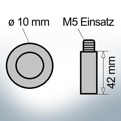 Bolt-Anodes M5 Einsatz Ø10/L42 (AlZn5In) | 9138AL