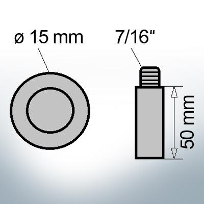 Bolt-Anodes 7/16'' Ø15/L50 (Zinc) | 9141
