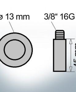 Bolt-Anodes 3/8'' 16G Ø13/L45 (Zinc) | 9143